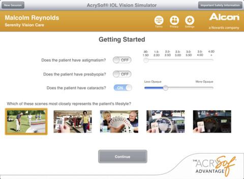 AcrySof IOL Vision Simulator
