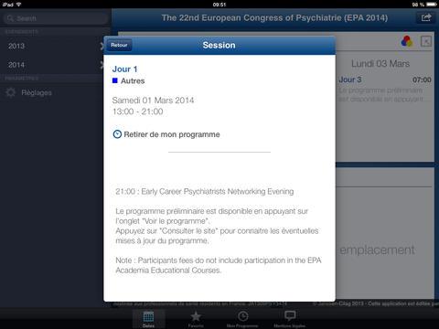 Calendrier des congrès et évènements Janssen en Psychiatrie 2013 for iPad