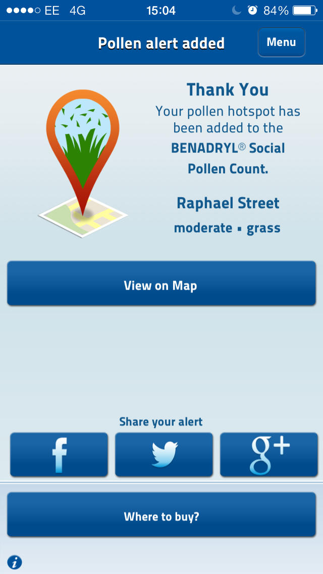BENADRYL® Social Pollen Count for iPhone