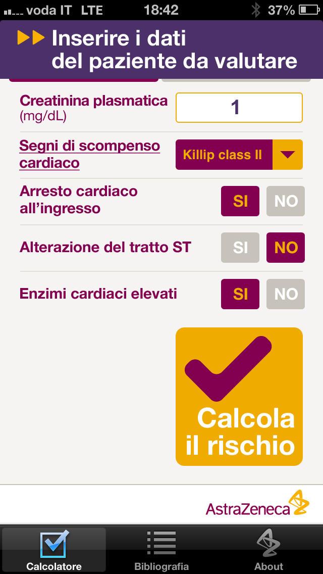 Calcolatore del rischio di mortalità intra-ospedaliera for iPhone