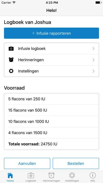 Helo! - Hemofilie logboek for iPhone