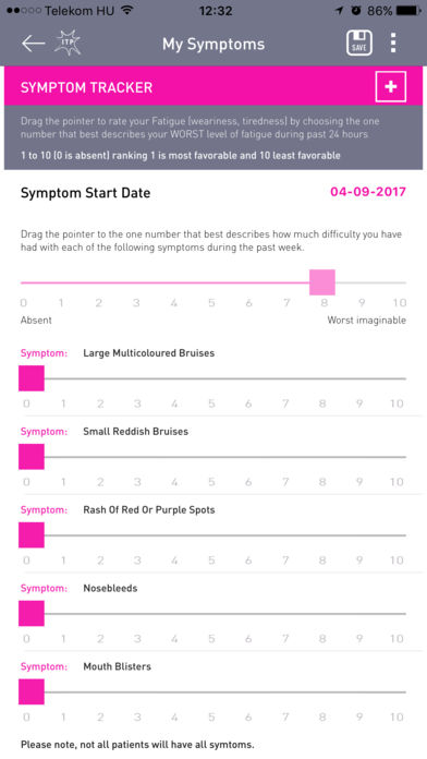 ITP Symptom Tracker for iPhone