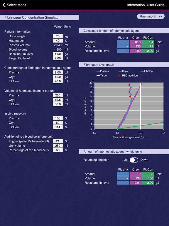 Fibrinogen Concentration Simulator for iPad