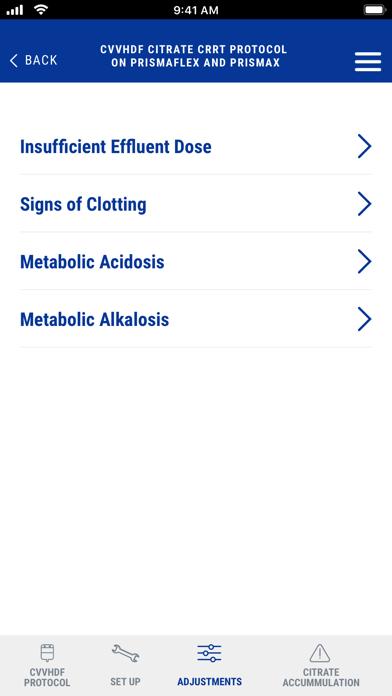 Prismaflex Citrate Protocol for iPhone