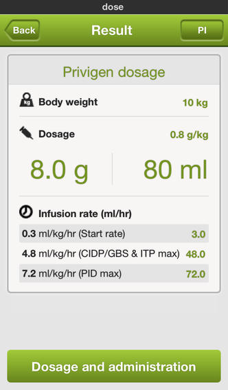 Learn more about and calculate the recommended dosage and infusion.